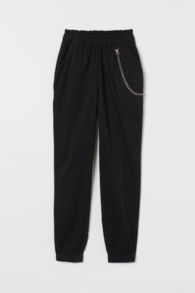 H&M Chain detail twill trousers