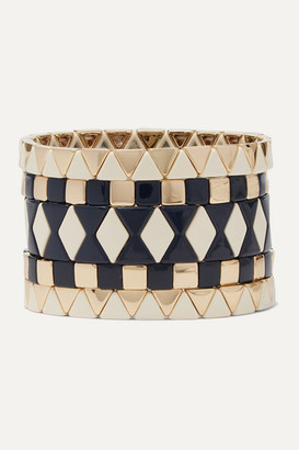 Roxanne Assoulin Suit Yourself Set Of Five Gold-tone And Enamel Bracelets - Black