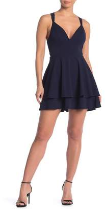 Love, Nickie Lew Tiered Hem Lace Back Mini Skater Dress