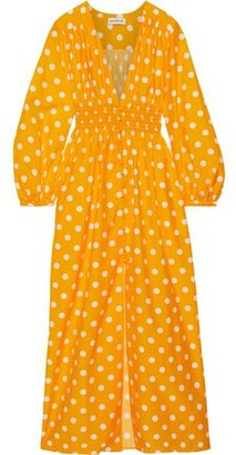 Nicholas Shirred Polka-dot Cotton And Silk-blend Maxi Dress