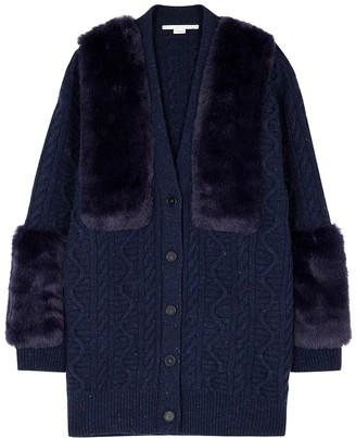 Stella McCartney Navy Faux Fur-panelled Wool Cardigan