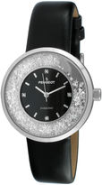 Peugeot Womens Diamond-Accent Black Leather Strap Watch 3041SBK