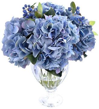 "One Kings Lane 17"" Lush Hydrangea with Vase - Faux - arrangement, blue/green; vessel, clear"