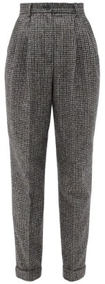 Dolce & Gabbana Houndstooth Wool-blend Tapered-leg Trousers - Grey Multi