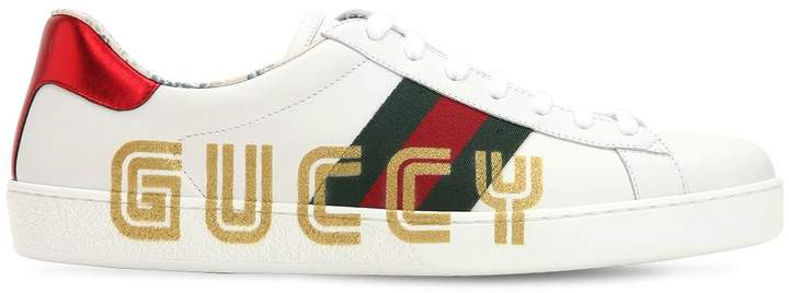 Gucci New Ace Glitter Guccy Leather Sneakers