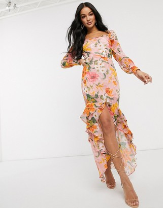 Pretty Darling floral square neck midi dress