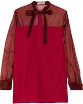 Valentino Silk organza-paneled cotton-poplin blouse