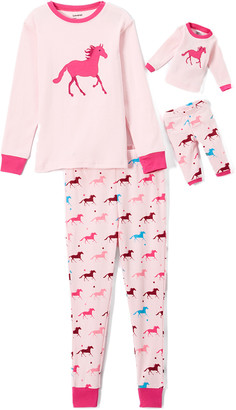 Leveret Girls' Sleep Bottoms - Pink Horse Pajama Set & Doll Outfit - Toddler & Girls