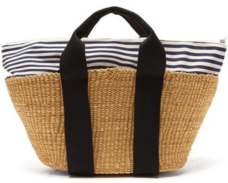 Muun George Striped Canvas And Straw Bag - Womens - Navy Multi
