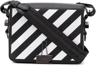 Off-White Binder Clip striped shoulder bag