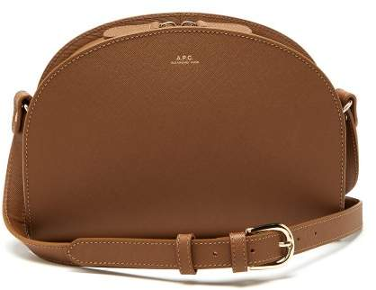 A.P.C. Half Moon Saffiano Leather Cross Body Bag - Womens - Light Tan