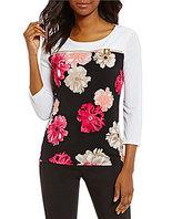 Calvin Klein Matte Jersey Floral Panel Print Zipper Trim Top