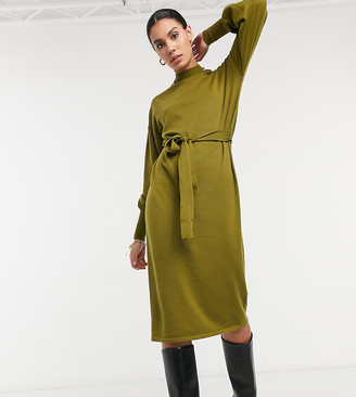 Vero Moda Tall midi dress with high neck and tie waist in green