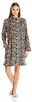 Miss Elaine Women's Leopard Print Short Zip Robe