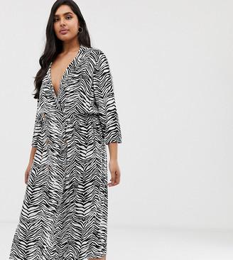 ASOS DESIGN Curve double button through collared midi shirt dress in mono zebra print