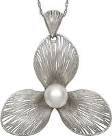 FINE JEWELRY Cultured Freshwater Pearl Sterling Silver Flower Pendant Necklace