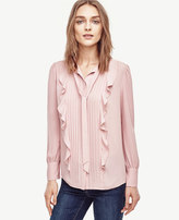 Ann Taylor Pintucked Tie Neck Ruffle Blouse