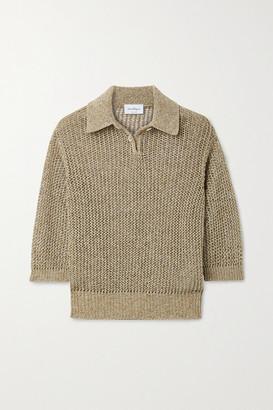 Salvatore Ferragamo Metallic Open-knit Top - Beige
