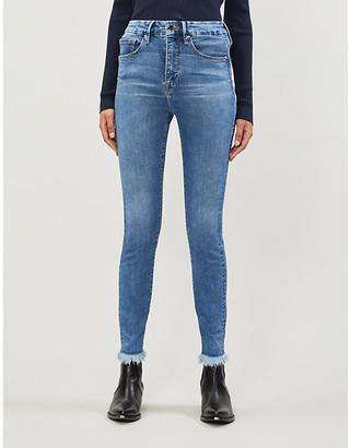 Good American Good Legs frayed slim-fit skinny high-rise jeans