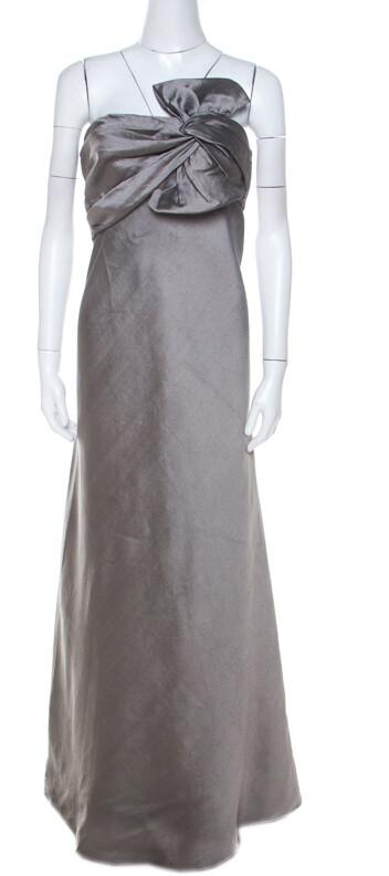 J. Mendel Grey Silk Blend Strapless Front Bow Detail Gown L