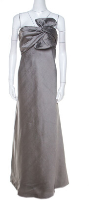 J. Mendel Grey Silk Blend Strapless Front Bow Detail Gown L
