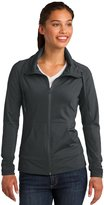 Sport-Tek LST852 Women's Sport-Wick Stretch Full-Zip Jacket, L, Charcoal Grey