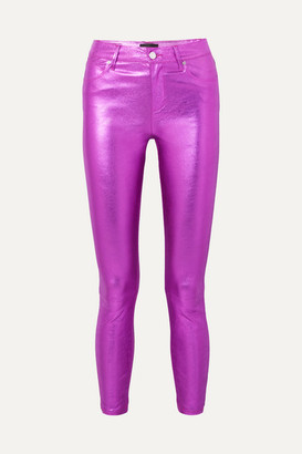 RtA Madrid Metallic Textured-leather Slim-leg Pants - Magenta