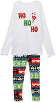 Beary Basics White 'Ho Ho Ho' Tee & Fair Isle Leggings - Toddler & Girls