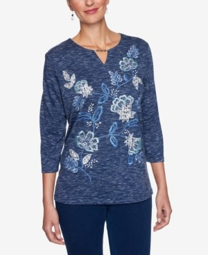 Alfred Dunner Women's Missy Denim Friendly Allover Floral Embroidery Top