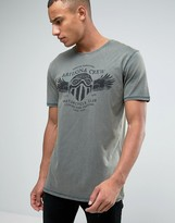 Esprit Slim Fit T-shirt In Oil Wash With Graphic Print