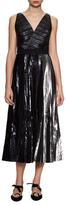 Proenza Schouler V-Neck Pleated Long Dress