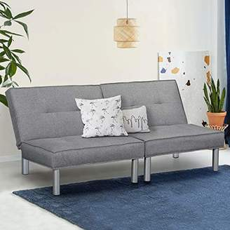 Olee Sleep Couch Microfiber Upholstery and Metal Legs Futon bed