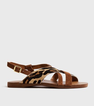New Look Wide Fit Leather Leopard Print Strap Sandals