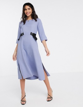 Closet London midi dress with double tie in lavender