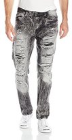 Southpole Men's Denim Pants Long Destructed Ripped and Repaired in Washed Colors with Color Backing