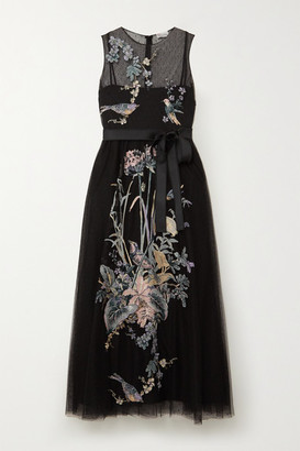RED Valentino Embroidered Point D'esprit Tulle Midi Dress - Black