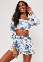 Missguided Petite White Co Ord Porcelain Frill Shorts
