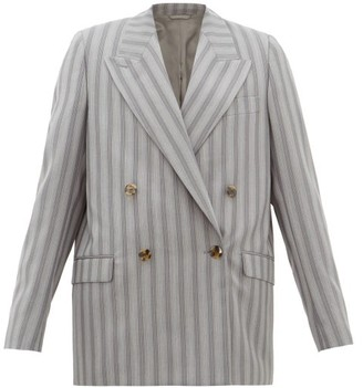 Acne Studios Janny Double-breasted Pinstriped Wool Jacket - Womens - Grey