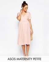 Asos PETITE Midi Dress With Flutter Sleeve