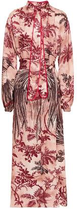 F.R.S For Restless Sleepers Brizio Tie-neck Printed Satin-jacquard Maxi Dress