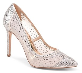 Badgley Mischka Women's Weslee Embellished Satin & Mesh Pointed Toe Pumps