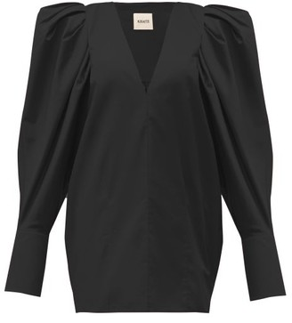 KHAITE Connie V-neck Puff-sleeve Cotton Blouse - Womens - Black