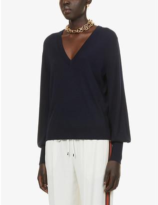 Chloé Brand-embroidered V-neck wool jumper