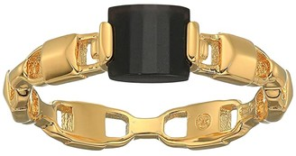 Michael Kors Precious Metal-Plated Sterling Silver Mercer Link Onyx Center Ring (Gold 2) Ring