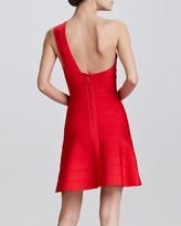 Herve Leger One-Shoulder Skirted Dress