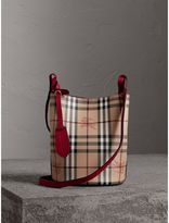 Burberry Leather and Haymarket Check Crossbody Bucket Bag