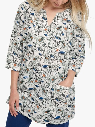 Seasalt Aventurier 3/4 Sleeve Floral Print Tunic Top, White