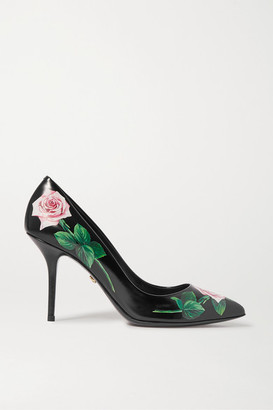 Dolce & Gabbana Floral-print Leather Pumps - Black