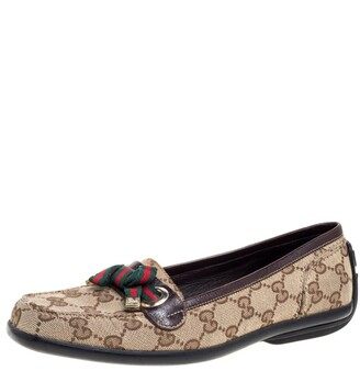 Gucci Beige/Brown GG Canvas and Leather Web Bow Detail Loafers Size 35.5