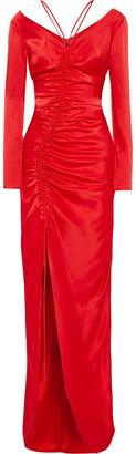 David Koma Split-front Ruched Satin Gown